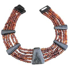 Danish Monies Gerda Lynggaard Amber Sodalite Choker Necklace Unique