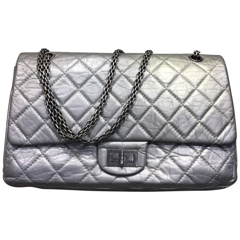6ff7810dbafd Chanel Silver Aged Calfskin Leather Quilted 2.55 Double Flap Bag For Sale
