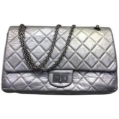 Chanel Silver Aged Calfskin Leather Quilted 2.55 Double Flap Bag