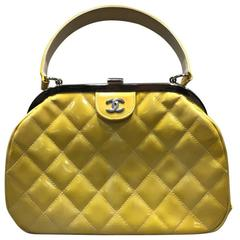 Chanel Yellow Quilted Patent Leather Handbag