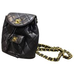 Chanel Black Quilted Lambskin Leather Mini Backpack Bag