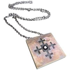 Danish Silver Gilt Diamond Mid Century Modernist Pendant Necklace