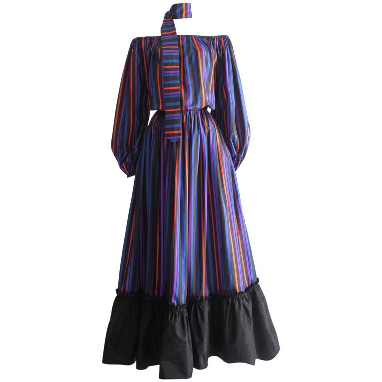 Lanvin Haute Couture silk taffeta off-the-shoulder evening dress, circa 1976 1