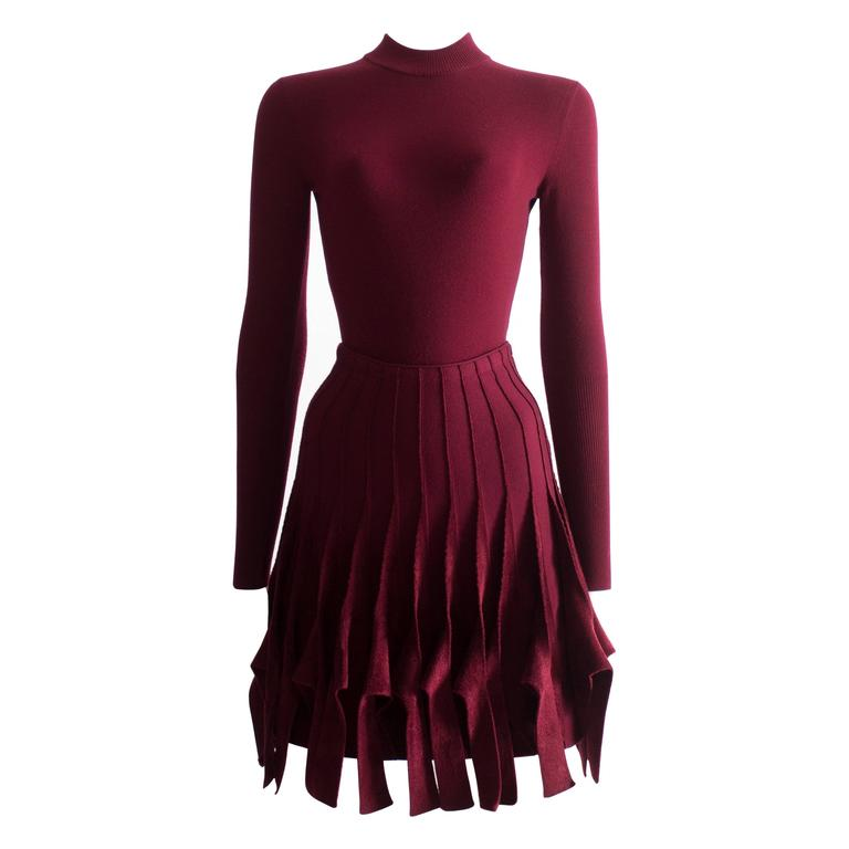 Alaia maroon chenille and wool body and skirt ensemble 1