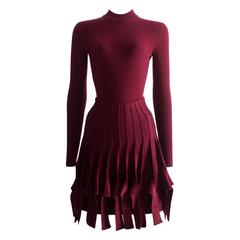Alaia maroon chenille and wool body and skirt ensemble