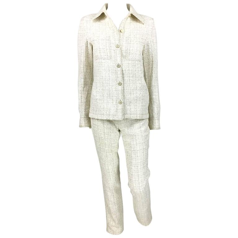 2001 Chanel Runway Off-White Bouclé Trouser Suit With Enamelled Logo Buttons 1