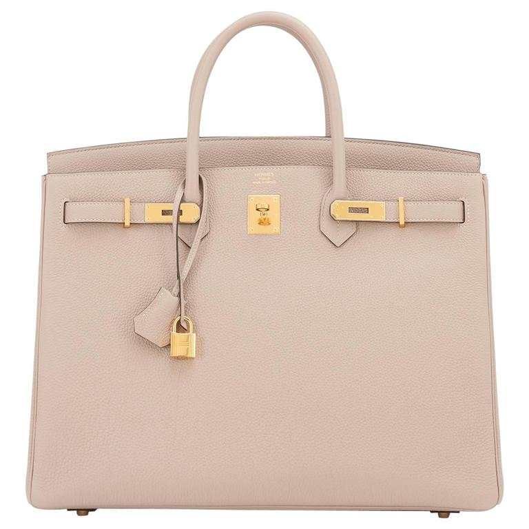 Hermes Gris Tourterelle 40cm Togo Gold Hardware Superb Birkin Bag For
