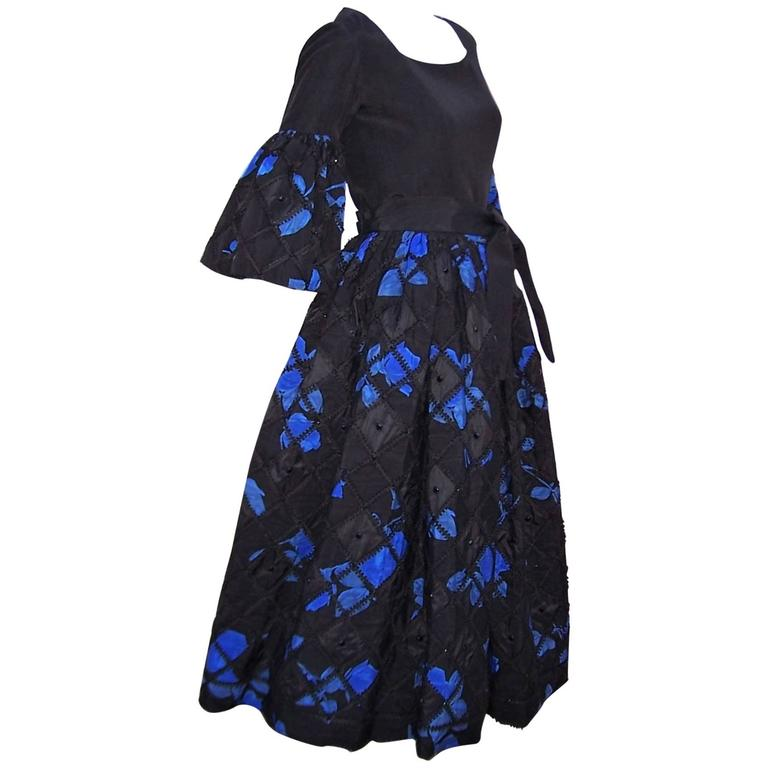 1970's Adolfo Two Piece Electric Blue & Black Peasant Dress  For Sale