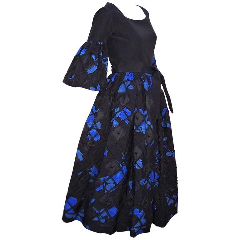 1970's Adolfo Two Piece Electric Blue & Black Peasant Dress