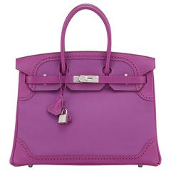 Hermes Anemone Ghillies Togo Swift Birkin Bag 35cm Palladium Hardware Limited