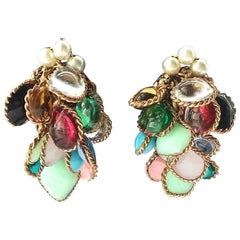 Chanel multi coloured poured glass cluster earrings, Maison Gripoix,  1960s.