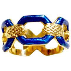 Uno A Erre 18K Italian Enamel Ring