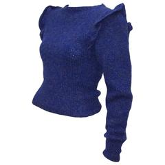 C.1980 Perry Ellis Lapis Blue Hand Knitted Wool Sweater