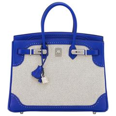 Hermes Blue Sapphire Ghillies Swift Criss Cross Ecru Graphite Toile 35cm Birkin