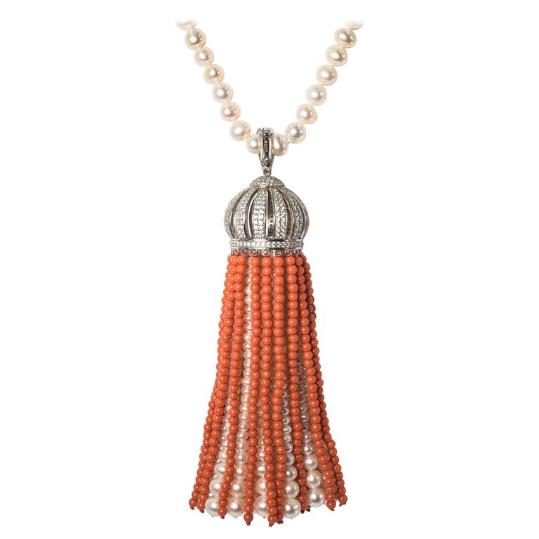 Faux Coral Pearl Diamond Domed Tassel Necklace For Sale