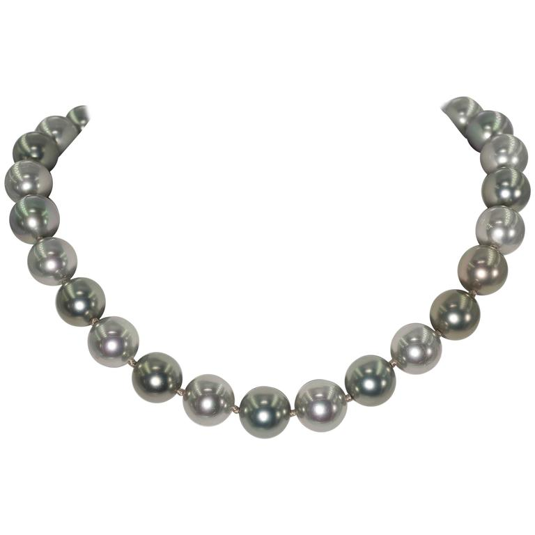 Elegant Faux 14mm South Sea Tahitian Multi Shaded Pearl 18'' Necklace 1