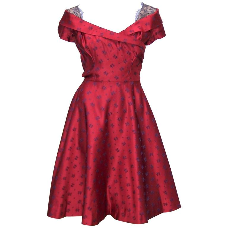 Late 1940's Adele Simpson Cherry Red & Blue Satin Party Dress