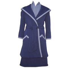 Outstanding 1960's Geoffrey Beene Blue & Gray Dress & Coat Ensemble