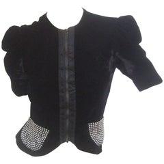 Saks Fifth Avenue Black Silk Velvet Grommet Jacket ca 1960