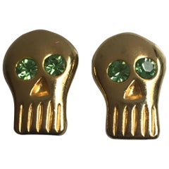 BillyBoy* Surreal Bijoux Gold Tone and Green Crystal Skull Earrings, 1989