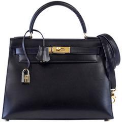 HERMES KELLY 28 Bag Vintage Black Sellier Box Leather Gold Hardware Very Rare