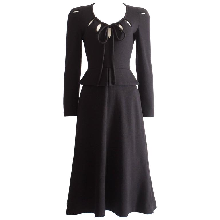 Ossie Clark black wool mid-length dress with cut-outs, Circa 1973 For Sale