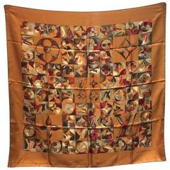 Louis Vuitton Golden Painted Monogram Print Silk Square Scarf