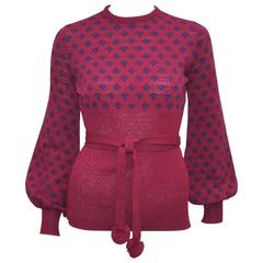 1970's Saks Fifth Avenue Knitwear Top With Pom Pom Belt
