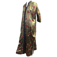 Traditional Moroccan Caftan in Metallic Floral Brocade with Button Front