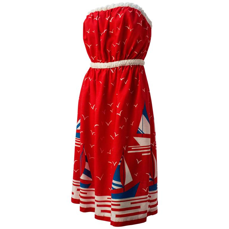 70s Sailboat Printed Cotton Strapless Day Dress