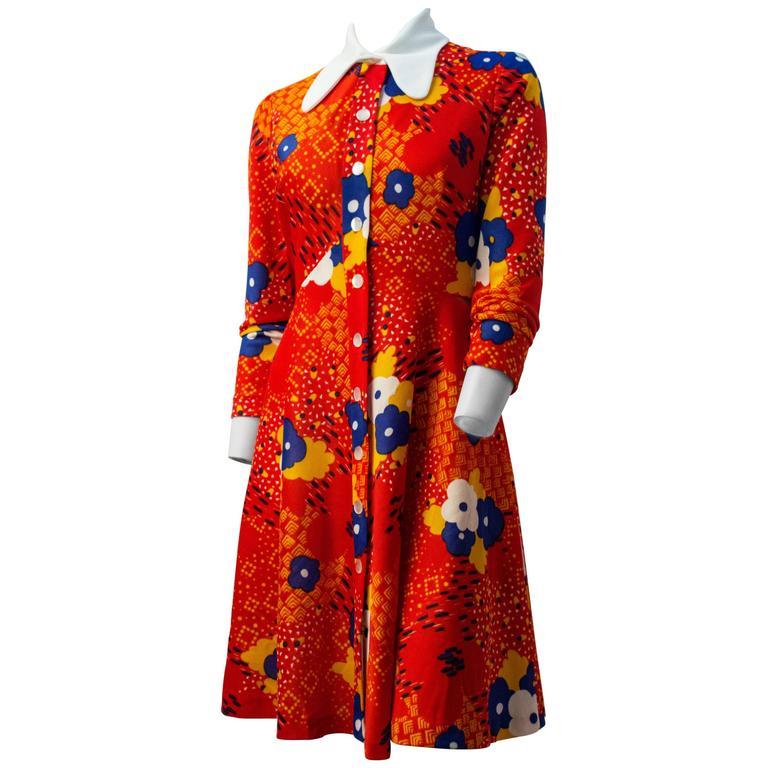 60s Leslie Fay for Joseph Magnin Printed Round Collar Orange Dress