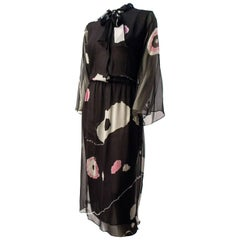 70s Hanae Mori Printed Silk Chiffon Dress