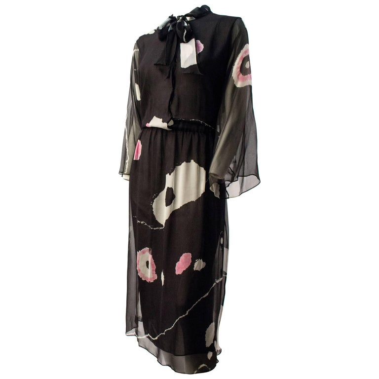 70s Hanae Mori Printed Silk Chiffon Dress For Sale