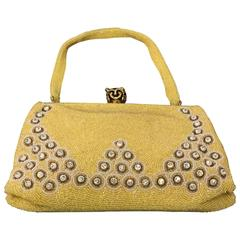 1950s Belgium-Made Buttercup Yellow Beaded Handbag w Rhinestones and Jewels
