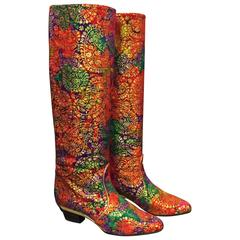1980s Escada Red Purple and Green Gold Lamé Brocade Boots w Stacked Heel