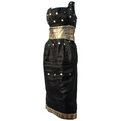 60s Sari Fabric Cocktail Dress, Black Organza w/ Gold Threads