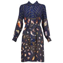 1970's Gucci Graphic Silk Belted Shirtdress W/Iconic Shell Print