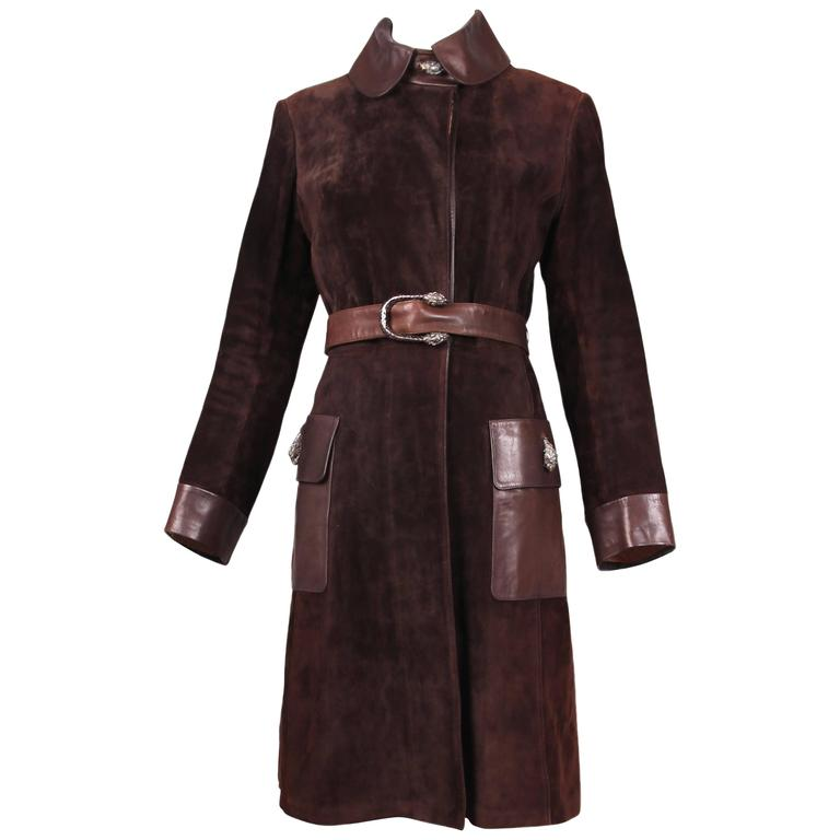 1970s Gucci Brown Suede & Leather Trim Coat W/Sterling Silver Tiger head Details