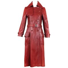1970's Gucci Burgundy Soft Leather Coat W/Glazed GG Logo Buttons & Belt