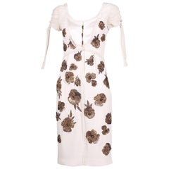 Dice Kayek White Silk Dress w/Floral Beaded Design