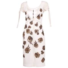 Dice Kayek White Silk Dress w/Floral Beaded Design