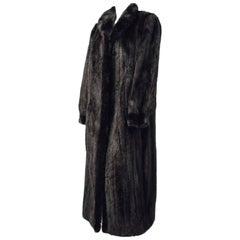 90s Exquisite Black Full Length Ranch Mink Coat