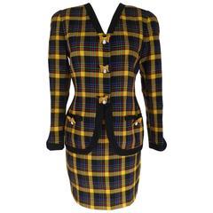 Gai Mattiolo 1980s set dress jacket skirt wool boucle check yellow blue size 42