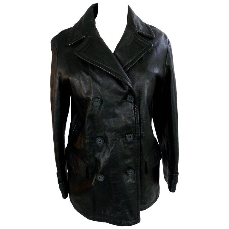 Giorgio Armani Peacoat Leather Black Double Breasted Italian Coat Jacket, 1980