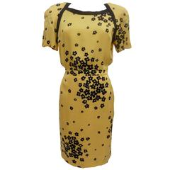 Valentino silk floral party dress Yellow and black made in italy vintage 1990s