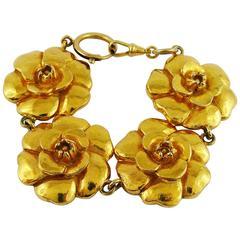 Chanel Vintage Gold Toned Iconic Camellia Bracelet