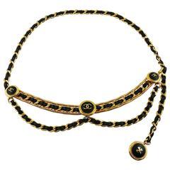 Chanel Vintage Rare Black Leather Chain Link Belt