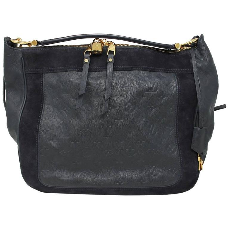 3c1030b28d2cc Louis Vuitton Audacieuse Navy Blue Suede Empreinte Leather Handbag For Sale