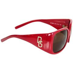 D&G Red Sunglasses With Rhinestone Logo