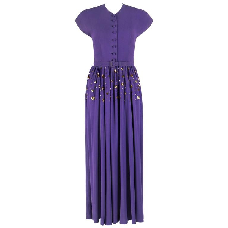 COUTURE c.1940's Purple Gold Belted Sequin Embellished Evening Dress Gown